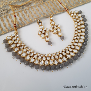Rohini Necklace and Earrings Set (White/Emerald/Grey/Baby Pink/Light Blue)