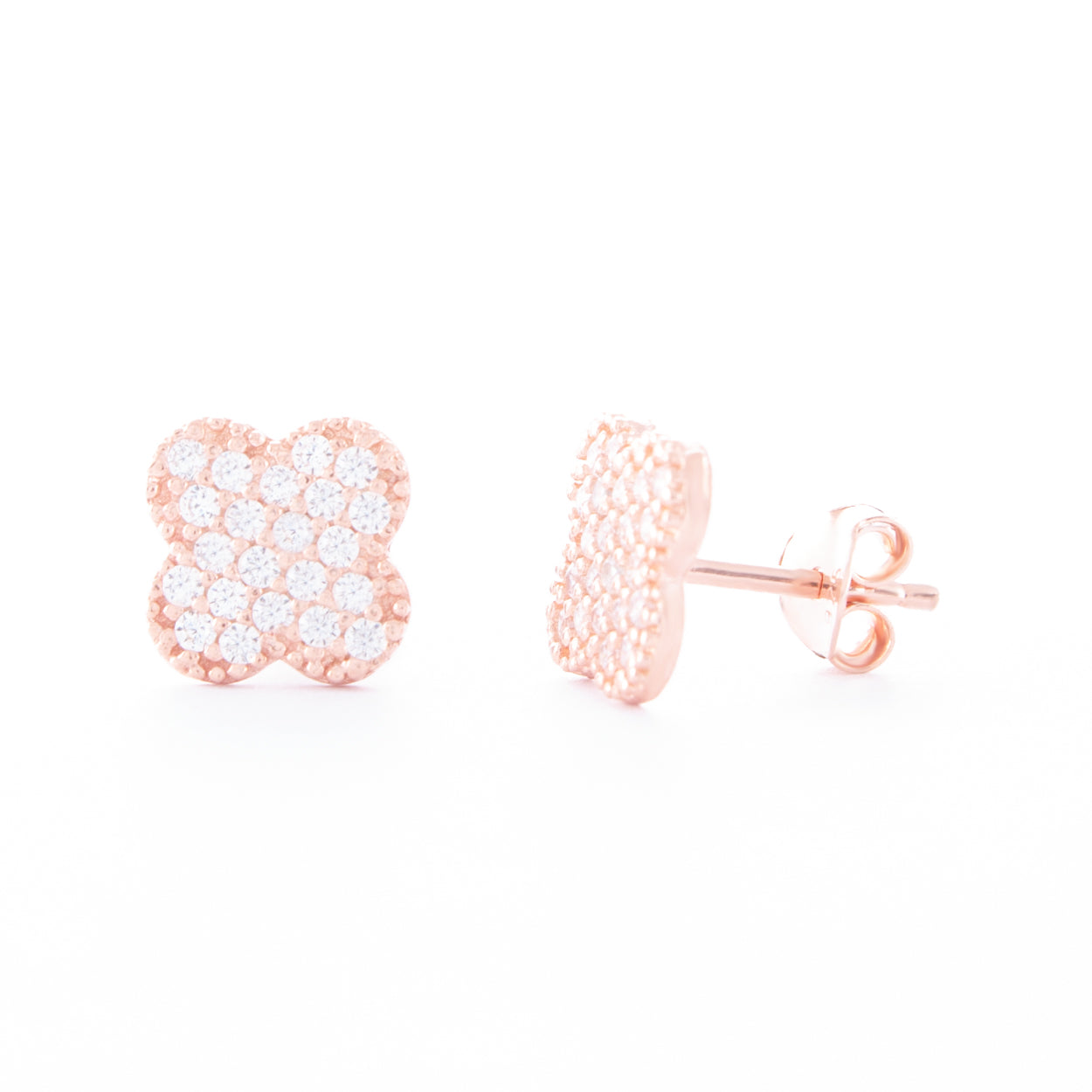Rose Gold Clover Studs