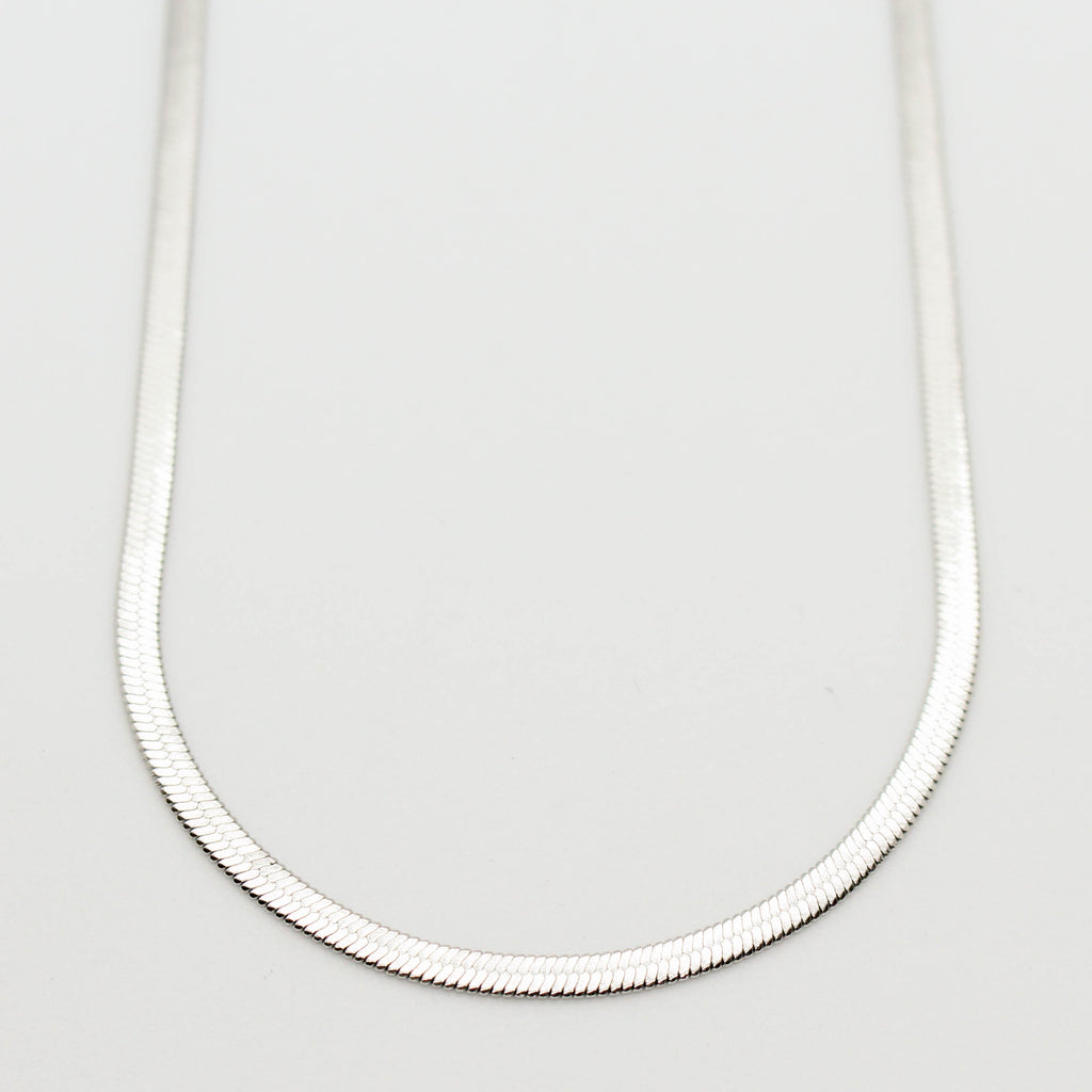Signature Silver Flat Snake Chain Necklace