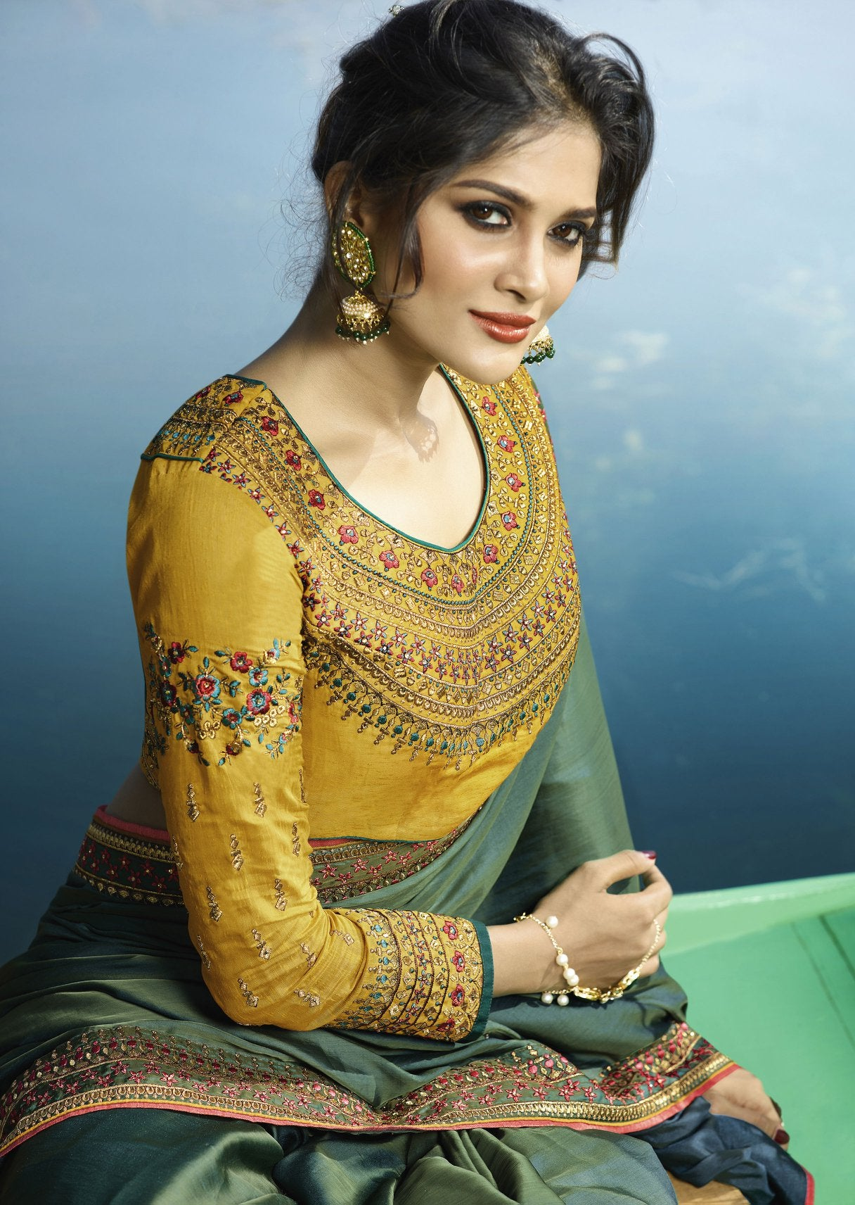 Two Tone Green Saree with Mustard Blouse