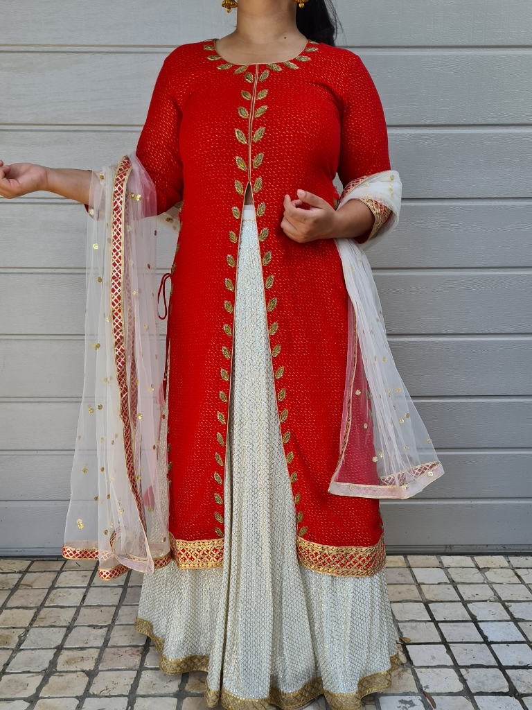 White Lehenga With Red Long Top