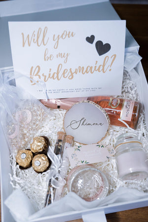 Indian Bridesmaid Proposal Box - White & Pink #1