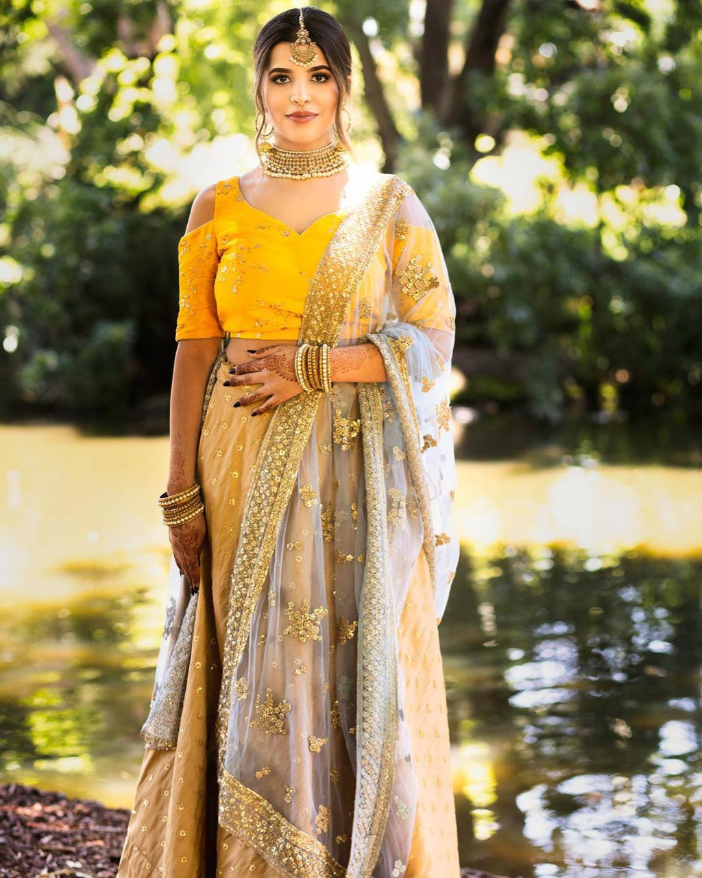 Colour Block Lehenga