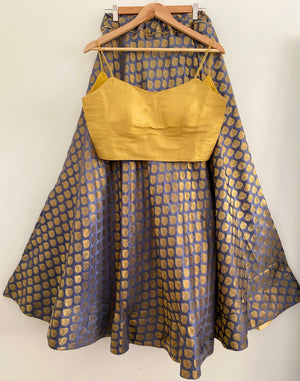 Grey Skirt with Gold Leaf Print