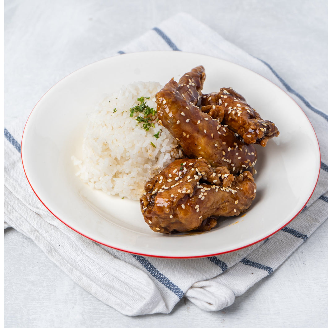 3 PC Korean Glazed Wings with Rice