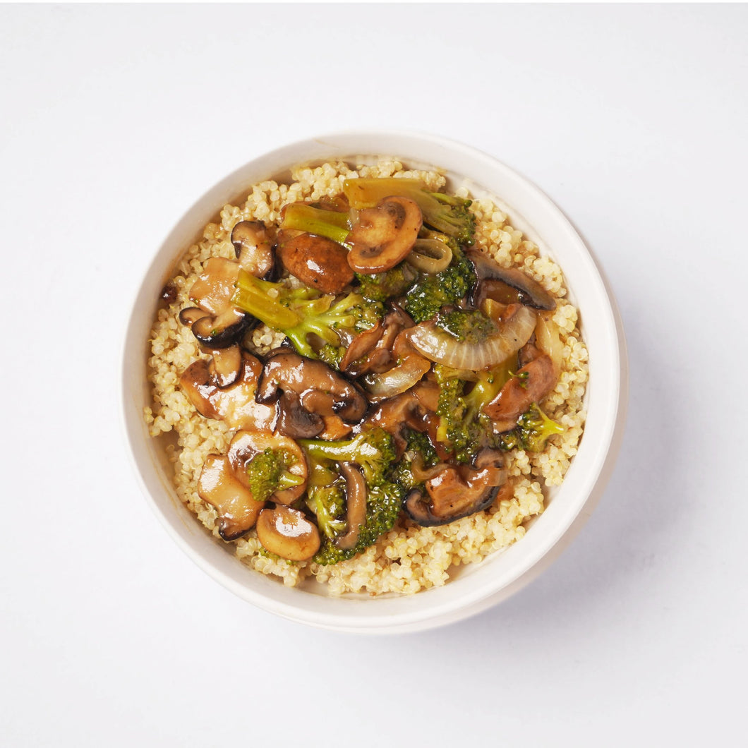 Broccoli and Mushroom Stir Fry Over Quinoa