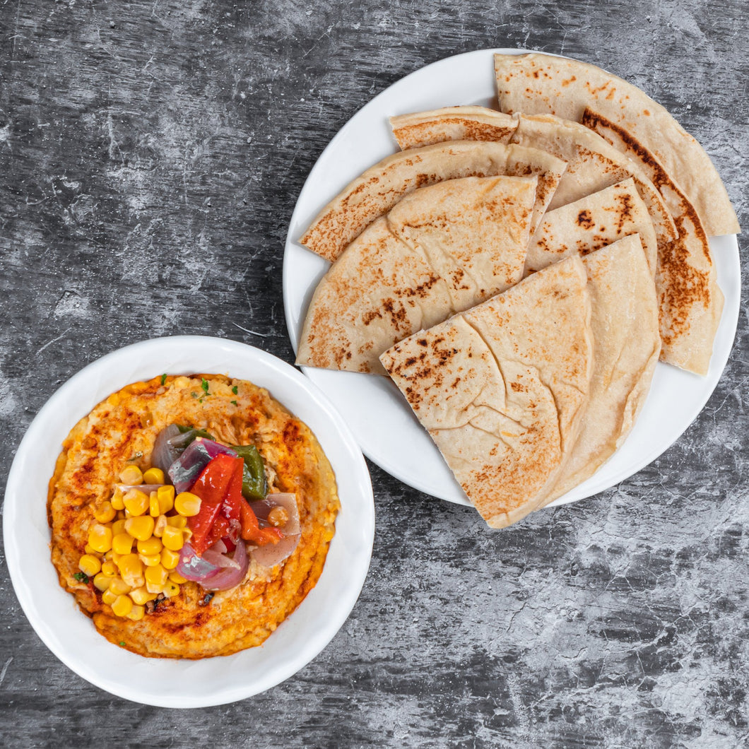 Hummus with Roasted Vegetables and Corn