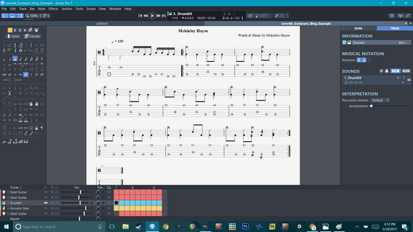 Guitar Pro 7 and jamstik+ Screenshot