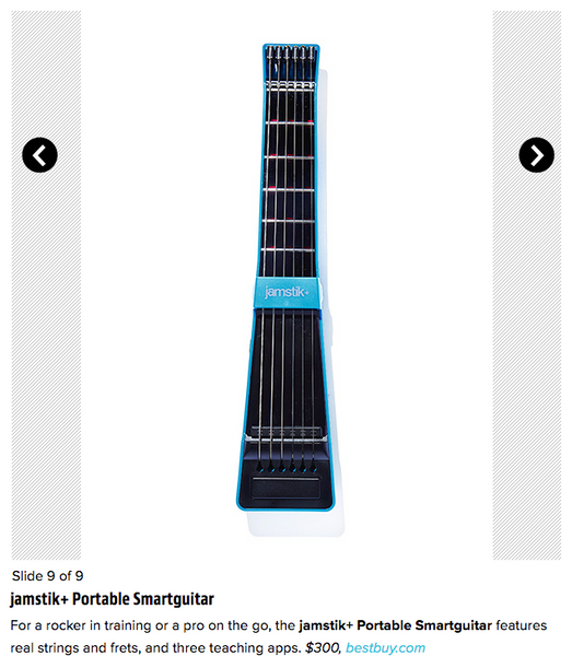 Entertainment Weekly, Holiday Gift Guide for the Music Lover, jamstik+ Portable SmartGuitar, for a rocker in training or a pro on the go - real strings and frets and 3 free teaching apps