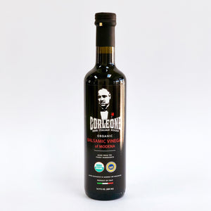 Front label of balsamic vinegar bottle