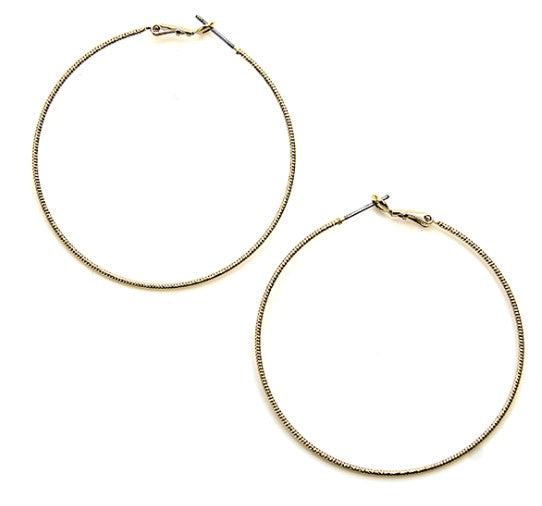 Designed Gold Hoop Earrings