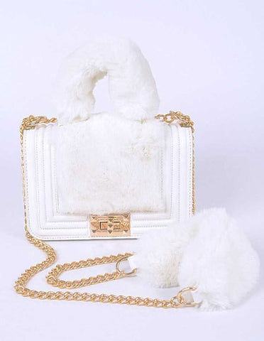 Faux Fur Plushy Handle Shoulder Bag