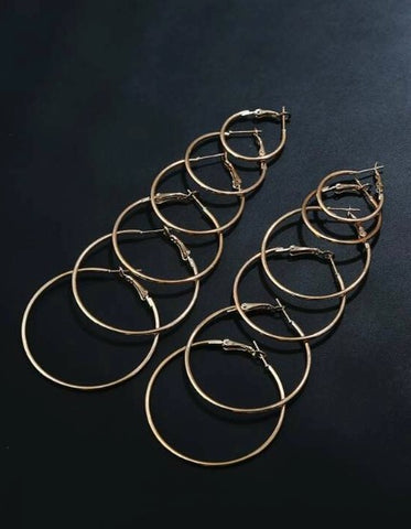 Gold Mixed Sized Classic Hoop Earring Set