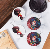 Round Wooden Painted Earrings