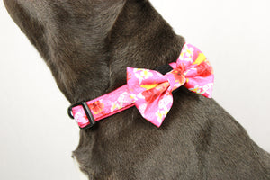 Pink Rosemallows Bow Tie