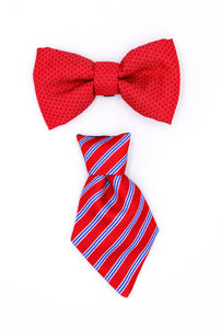 Duo Red Bow Tie and Red/blue tie