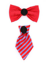Load image into Gallery viewer, Duo Red Bow Tie and Red/blue tie
