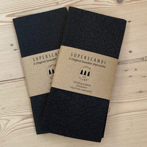 2 x 2 Packs Charcoal Black Artisan Swedish Dishcloths