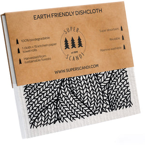 Scandi Prints Swedish Dishcloths 5-Pack (3 Printed, 1 White, 1 Grey)
