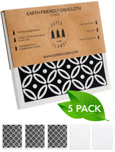 Load image into Gallery viewer, Artdeco White on Black Swedish Dishcloths 5-Pack (3 Printed, 2 White)