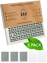 Load image into Gallery viewer, Moon Green Swedish Dishcloths 5-Pack (3 Printed, 2 White)