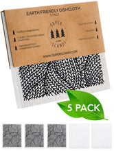 Load image into Gallery viewer, Line Knitting Black Swedish Dishcloths 5-Pack (3 Printed, 2 White)