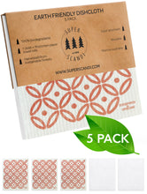 Load image into Gallery viewer, Artdeco Coral Swedish Dishcloths 5-Pack (3 Printed, 2 White)