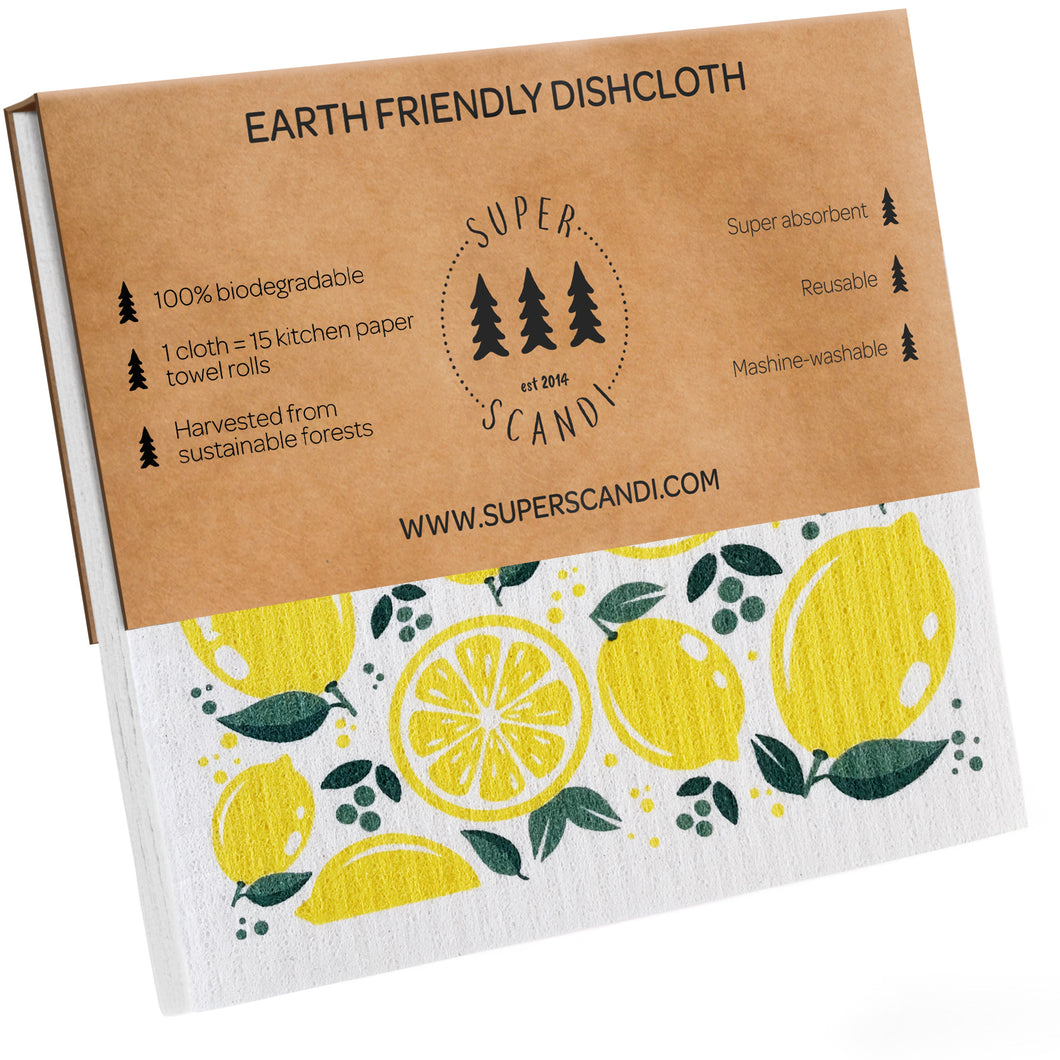 Lemon Swedish Dishcloths 5-Pack (3 Printed, 2 White)