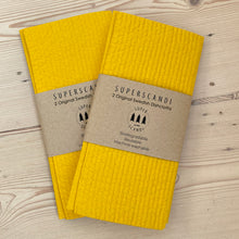 Load image into Gallery viewer, 2 x 2 Packs Mustard Yellow Artisan Swedish Dishcloths