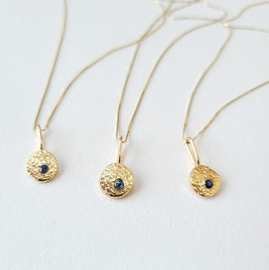 14k Yellow Gold Sapphire Nugget Pendant Necklace