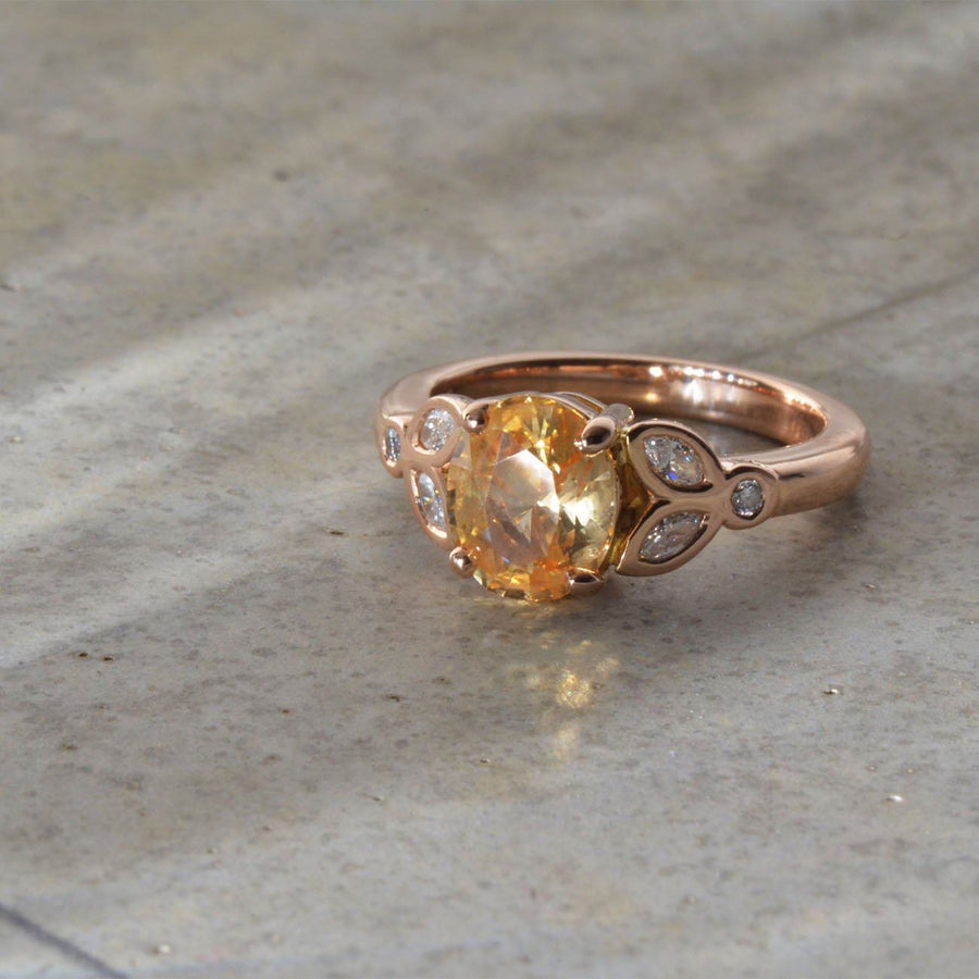 Peach Sapphire and Diamond in Red Gold