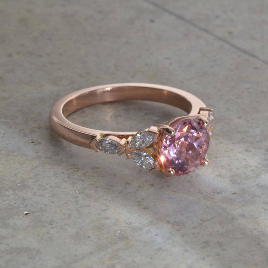 Champagne Sapphire and Diamond Rose Gold Ring