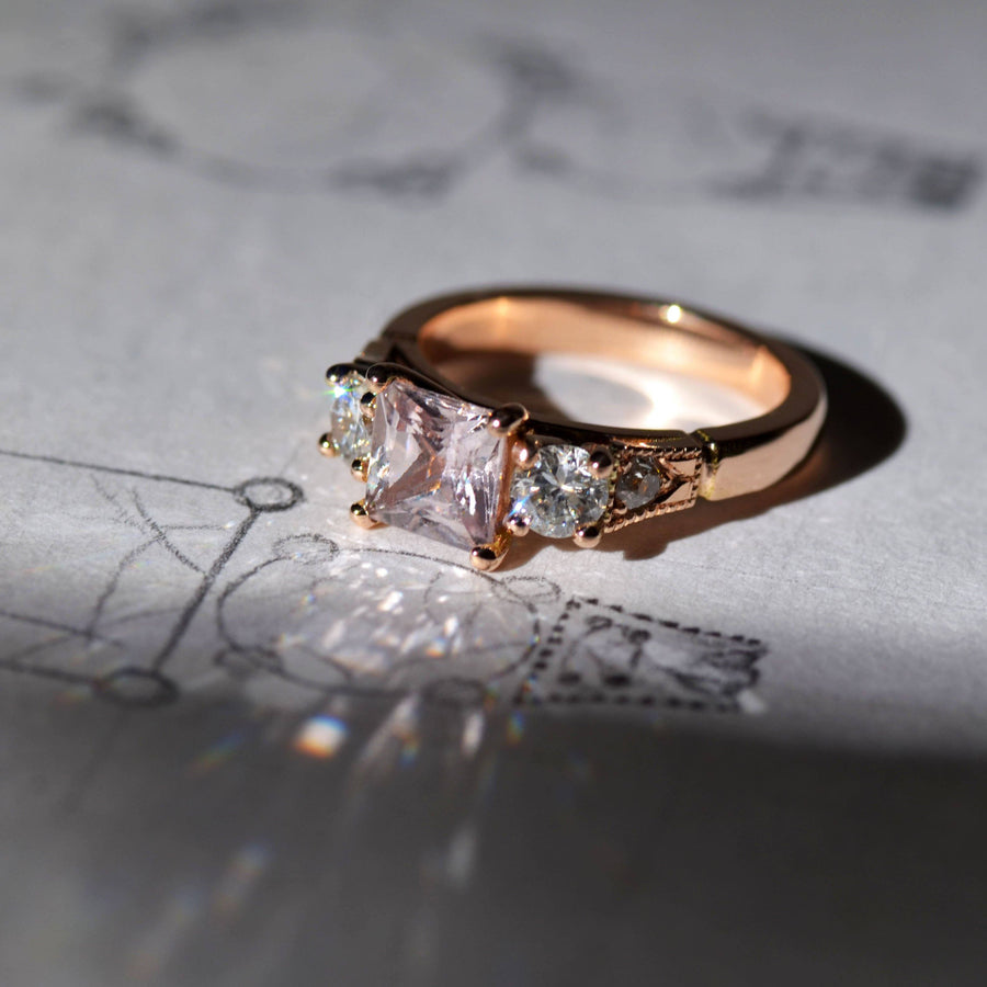 Peach Sapphire and Diamond Rose Gold Ring