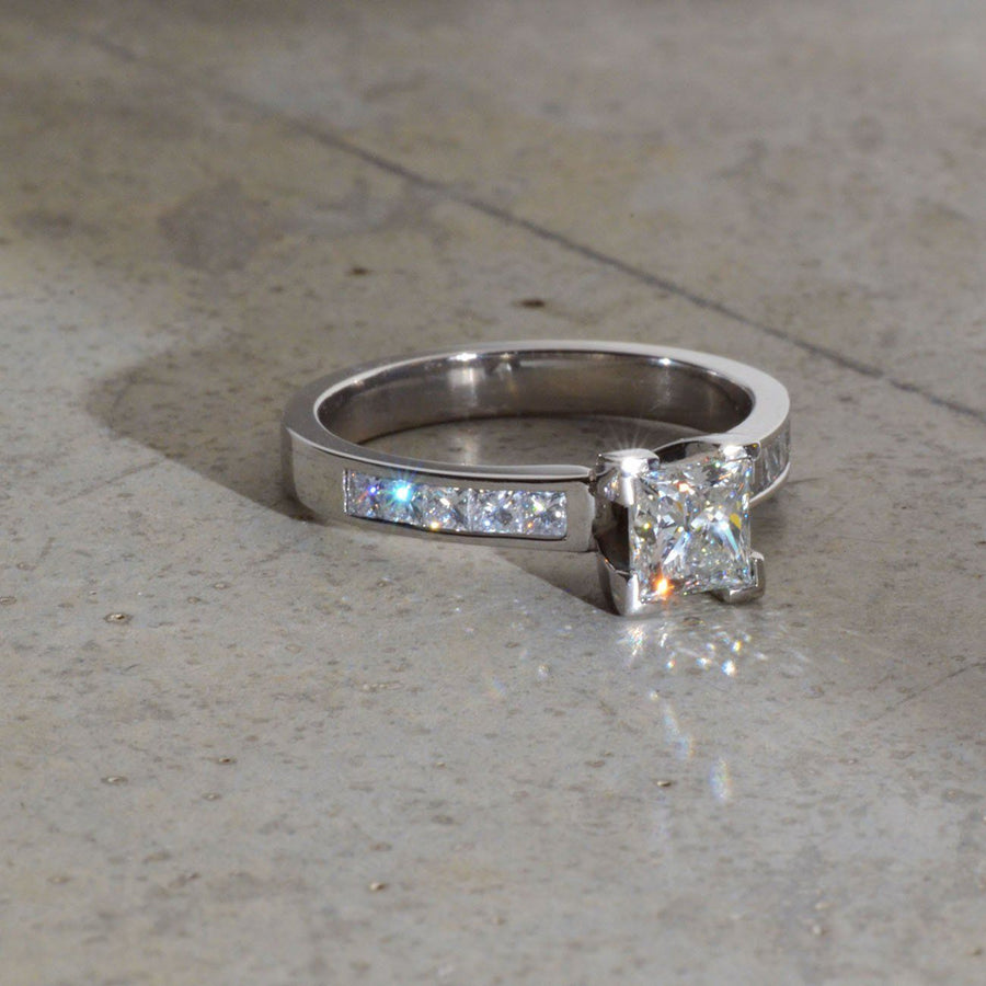 Princess Cut Diamonds Platinum Ring
