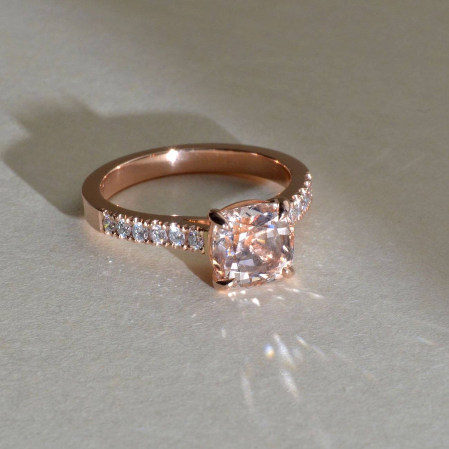 Morganite and Diamond in Red Gold