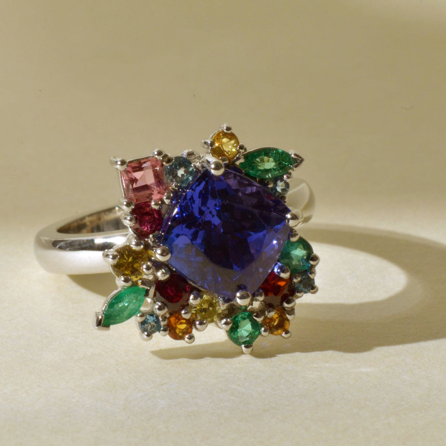 Tanzanite and Multi-Stone Cluster Platinum Ring