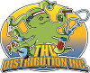 """Thv Distribution Inc""'s logo, an octopus with an American flag head band. The Octopus is rolling a blunt while holding a spoon pipe, a bong, two vape mods, cigar, and a hookah."