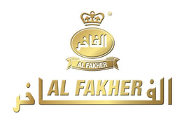"A gold ""Al Fakher"" logo on a white background"