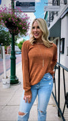 Lightweight Knit Sweater - Rust