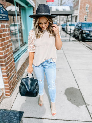 BLUSH LACE SLEEVED BLOUSE