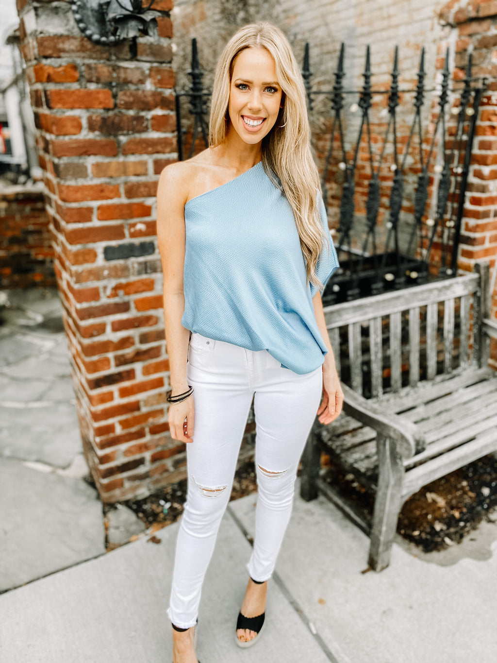 ONE SHOULDER BLUE BLOUSE