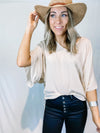 TAUPE CINCHED SIDE BLOUSE