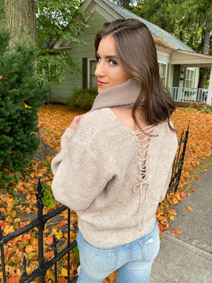 "<img src=""Lace-Up-Back-Sweater-Sand-Scarf.jpg"" alt=""lace up back sweater in sand scarf view"">"