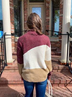 "<img src=""-Mock-Neck-Colorblock-Sweater-Burgundy-Back.jpg"" alt=""mock neck colorblock sweater in burgundy back view"">"