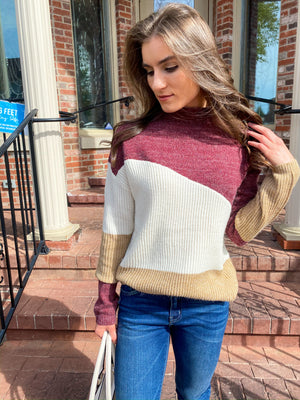 "<img src=""-Mock-Neck-Colorblock-Sweater-Burgundy-Front.jpg"" alt=""mock neck colorblock sweater in burgundy front view"">"