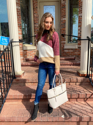 "<img src=""-Mock-Neck-Colorblock-Sweater-Burgundy-Full-Front.jpg"" alt=""mock neck colorblock sweater in burgundy full front view"">"