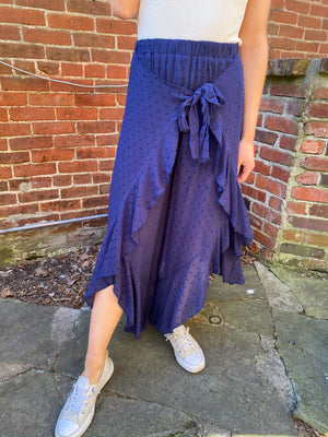 "<img src=""Ruffle-Culotte-Pants-Navy-Front.jpg"" alt=""ruffle culotte pants in navy front view"">"