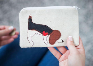 Beagle Sniffing - Dog Embroidery - Small Useful Coin Purse