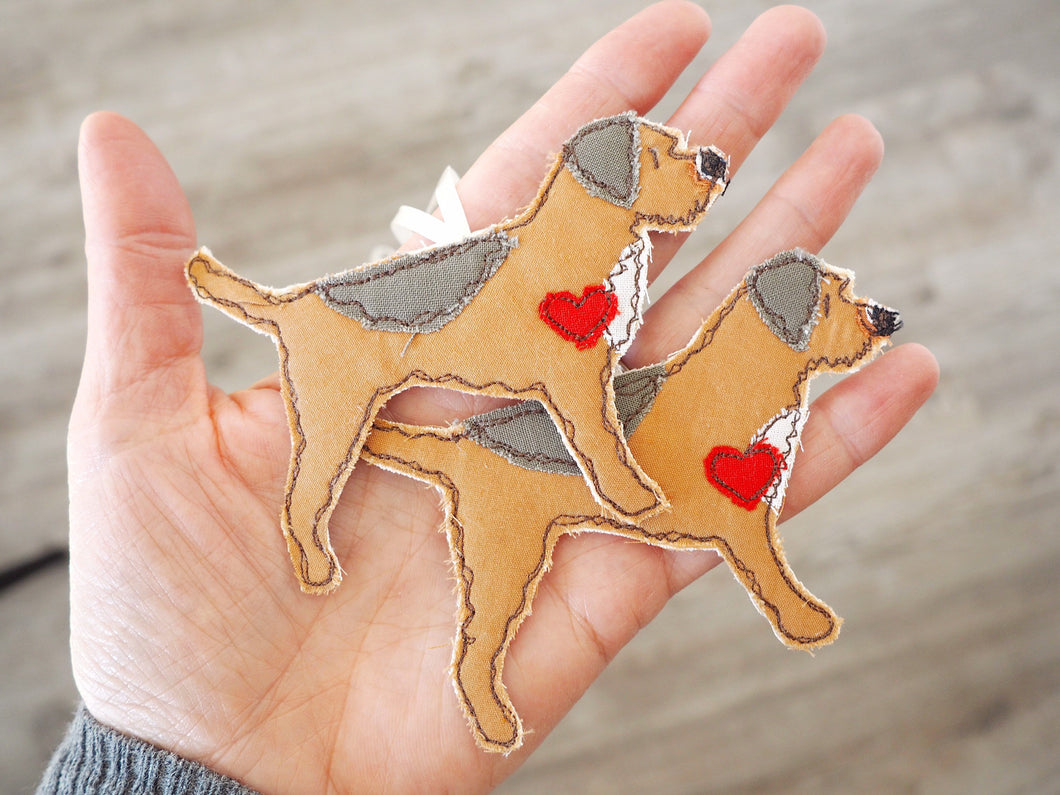 Double Border / Lakeland Cross Terrier Dog Fabric Hanging Decoration