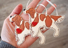 Load image into Gallery viewer, Double red and white Irish Setter Dog Fabric Hanging Decoration